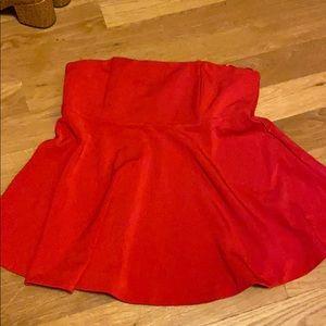 Ann Taylor red Corset bustier tube top peplum
